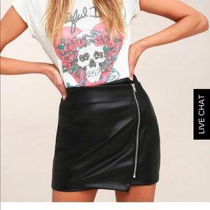 Tough-stuff black vegan leather miniskirt